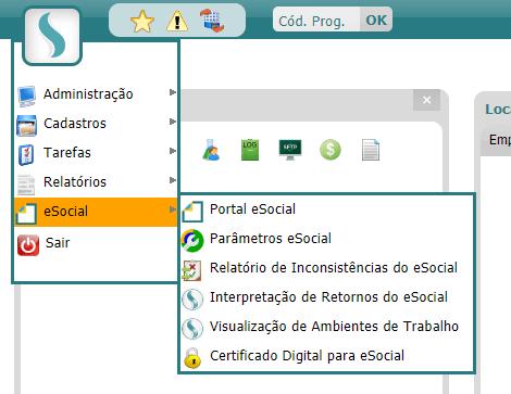 eSocial no menu principal